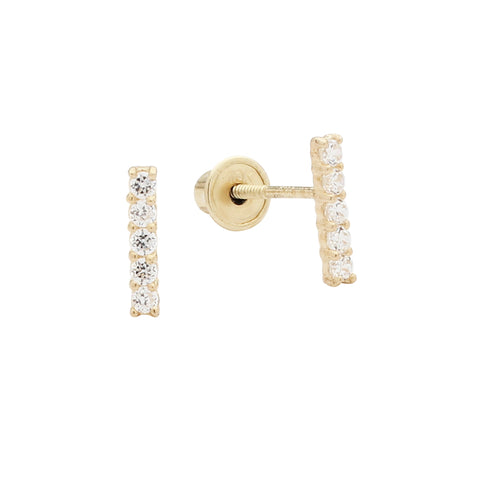 10k Solid Gold CZ Bar Studs