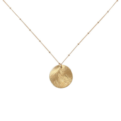 Brushed Disc on Ball Chain Necklace