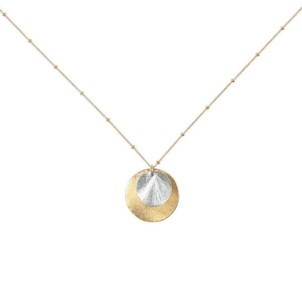 2-Tone Brushed Disc Necklace on Ball Chain