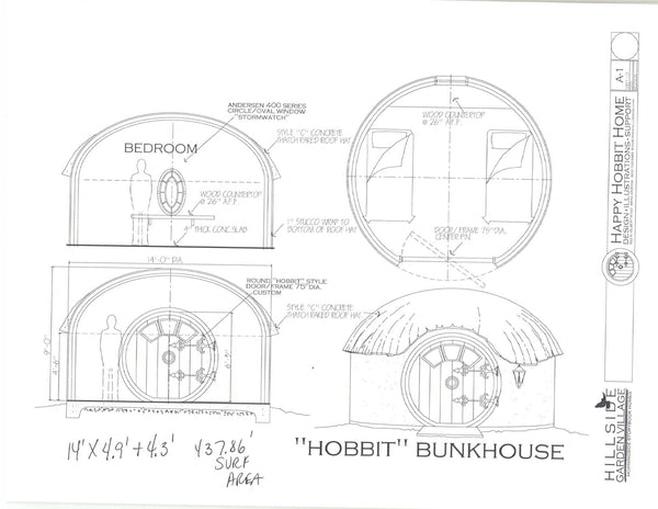 Hobbit Bunk House - One (1) 14' diameter Airforms