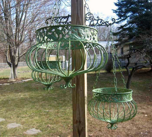 Set Of 3 Victorian Hanging Planters Wrought Iron Green