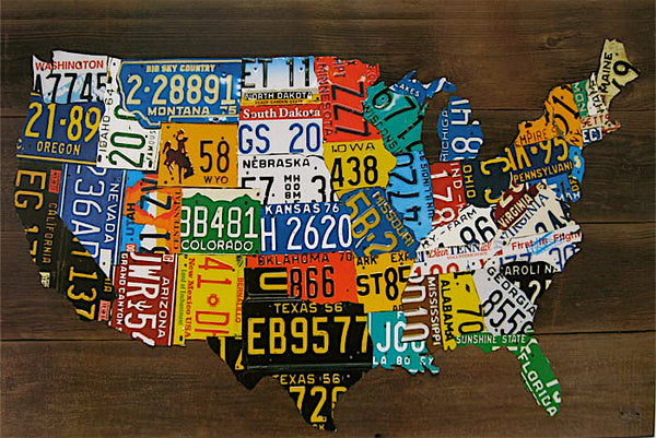 USA License Plate Map Print Wood Frame Wall Decor AmericanaRUs - Us liscense plate map