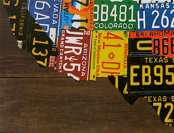 USA License Plate Map Print Wood Frame Wall Decor AmericanaRUs - Us licence plate map