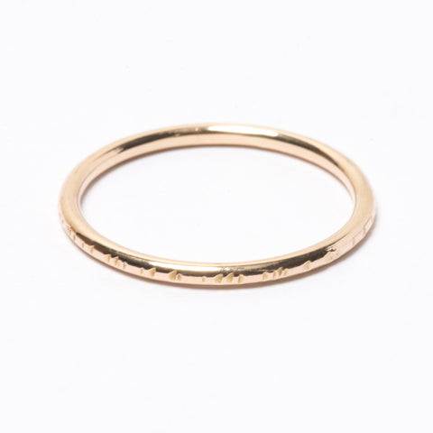 Line Hammered Gold Ring