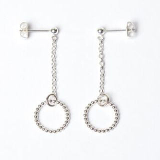 Silver Circle & Chain Earrings