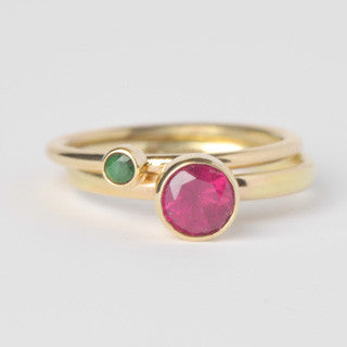 Ruby and emerald stacking gold rings