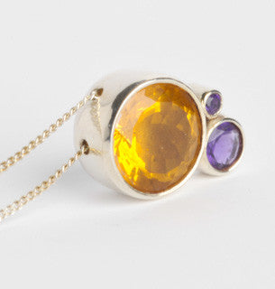 Citrine and Amethyst Contrast Pendant
