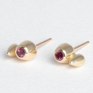 Garnet and Gold Spike and Honey Pot Studs