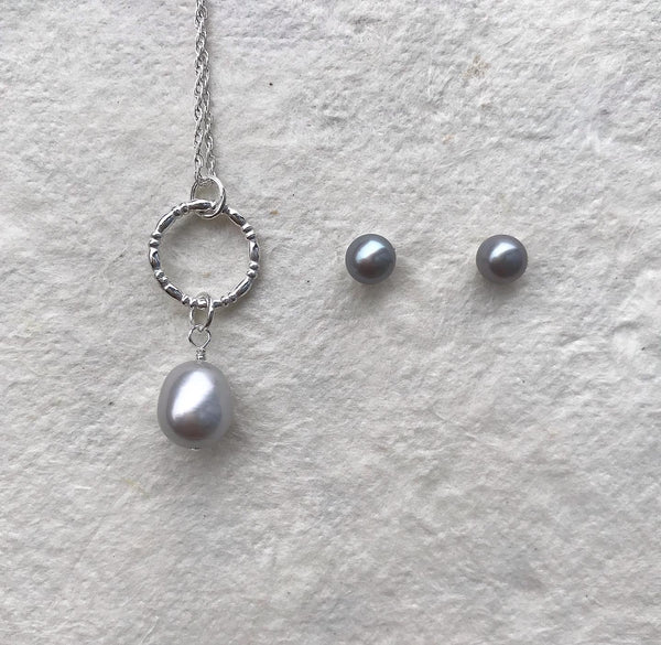 Circle Pendant with Silver Pearl Drop & Pearl Studs