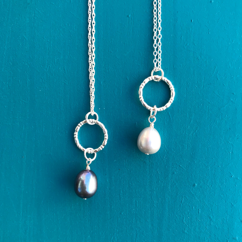 Circle Pendant with Pearl Drop