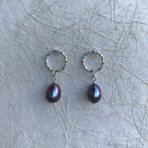 Circle Studs with Pearl Drop