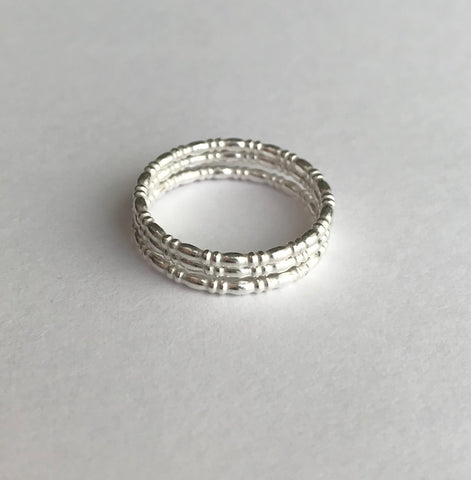 Tiny Silver Bamboo Rings (stack of three)