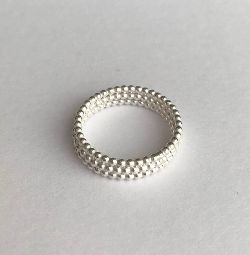 Tiny Silver Ball Rings (stack of three)