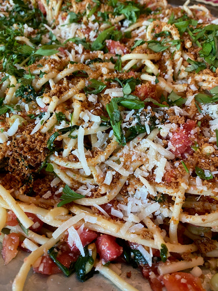Pasta, Bucatini, tomatoes, summer supper