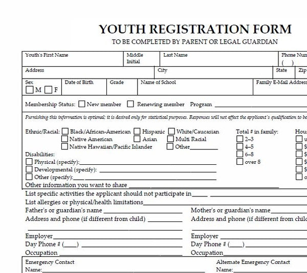 Youth Registration Forms (package of 100)