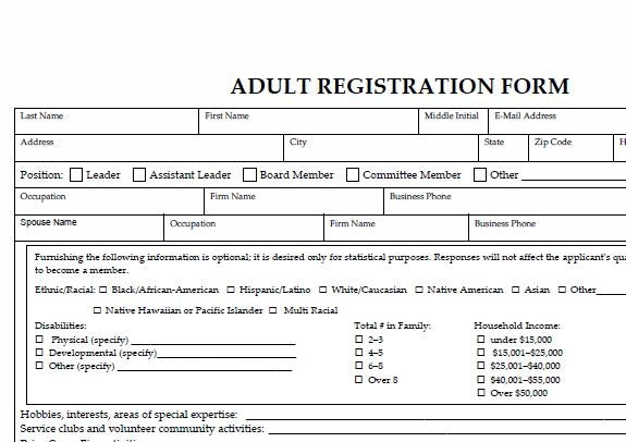Adult Registration Forms (package of 25)