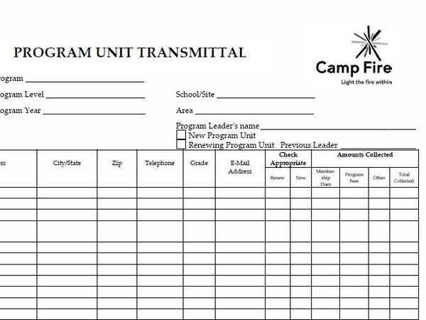 Program Unit Transmittal Forms (package of 25)