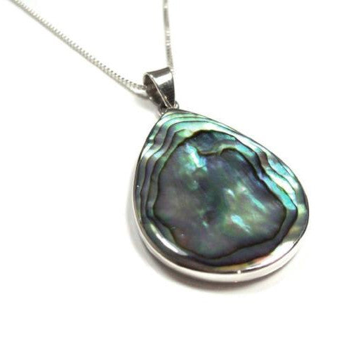 Abalone Paua Shell Sterling Silver Necklace