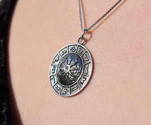 Sterling Silver Sun/Moon Zodiac Necklace