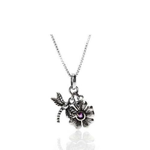 Dragon fly and flower oxidised sterling silver necklace