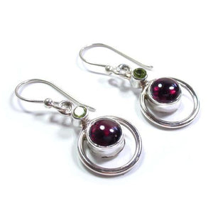 Garnet & peridot sterling silver earrings