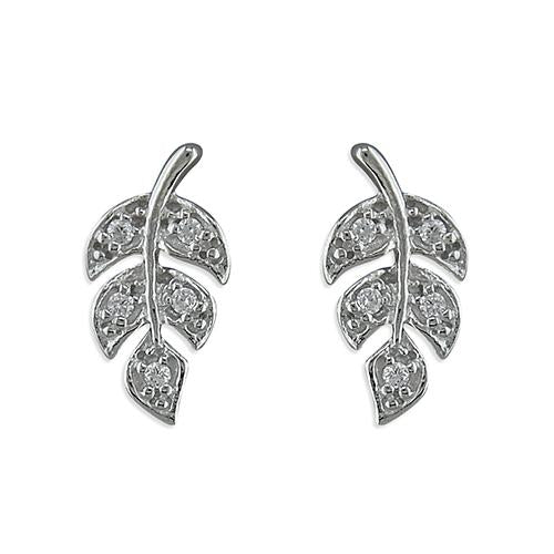 Leaf stud sterling silver and cubic zirconia earrings