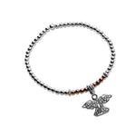Lorena Sterling silver & rose gold angel stacking bracelet