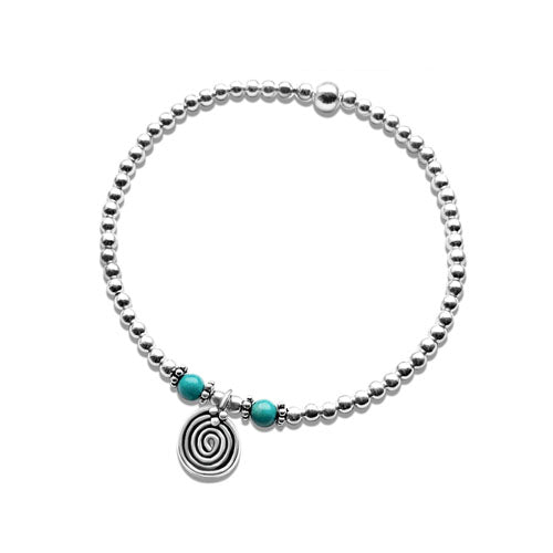 Lorena sterling silver bead stacking bracelet with Turquoise