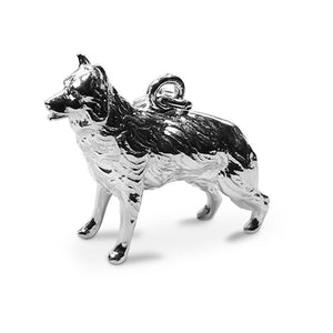 Sterling silver Alsation German Shepherd dog clip on charm