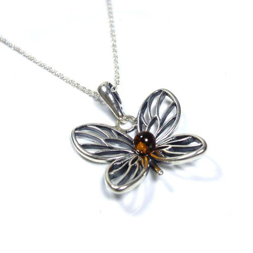 Sterling silver amber butterfly necklace