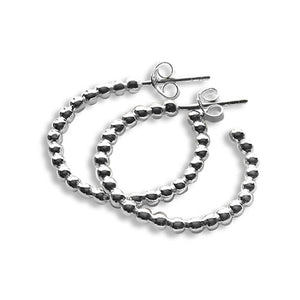 Sterling silver bead style hoop earrings