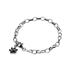 Sterling silver bracelet with dog paw charm