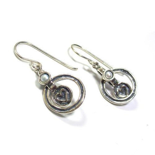 Sterling silver circle heart handmade earrings