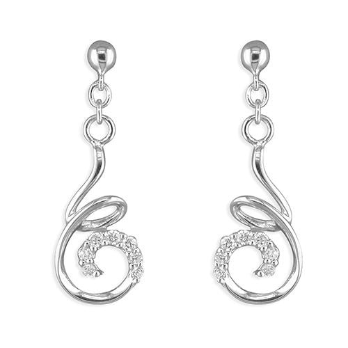 Sterling silver cubic zirconia swirl stud earrings