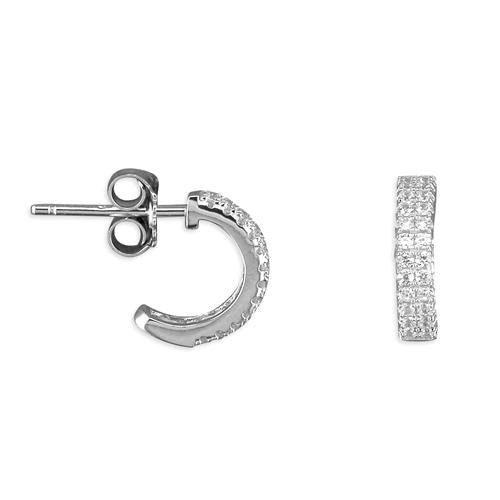 Sterling silver half hoop sparkly cubic zirconia earrings