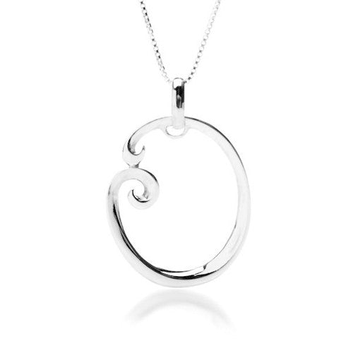 Sterling silver large circular necklace