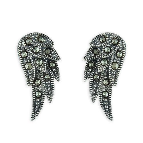 Sterling silver marcacite angle wing earrings