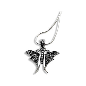 Sterling silver marcasite dragonfly necklace