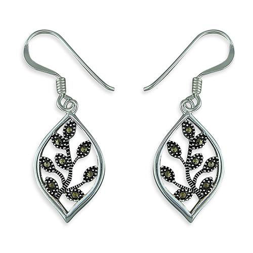 Sterling silver marcasite tree of life earrings