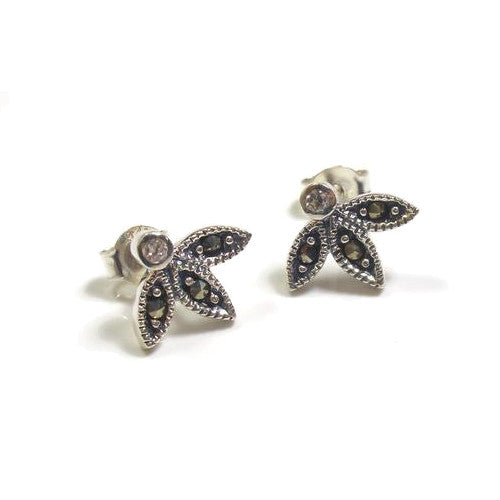 Sterling silver marcasite stud sterling silver earrings