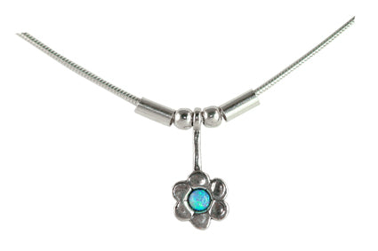 Sterling silver opal flower necklace by Lorena Silver Jewellery Necklaces