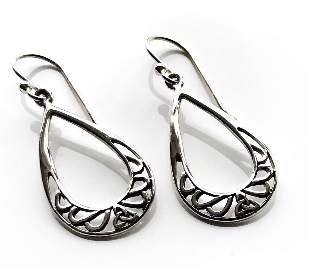 Sterling silver drop pear shape earrings by Lorena Silver Jewellery Silver earrings