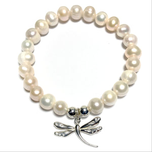 Freshwater Pearl Silver Dragonfly Bracelet