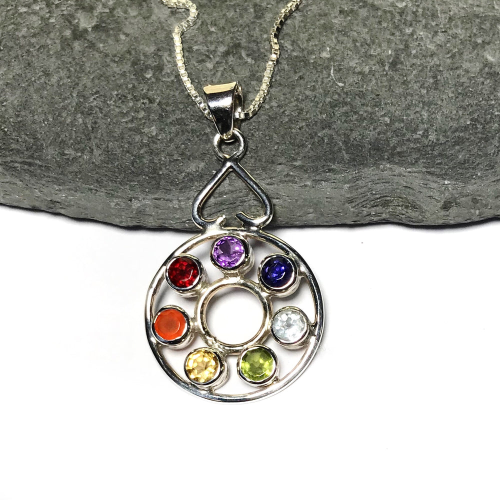 Sterling Silver Semi Precious Stone Chakra Necklace
