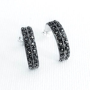 Sterling Silver Marcasite hoop Earrings