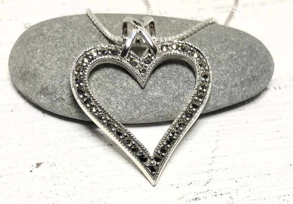 Sterling Silver Marcasite Heart Necklace
