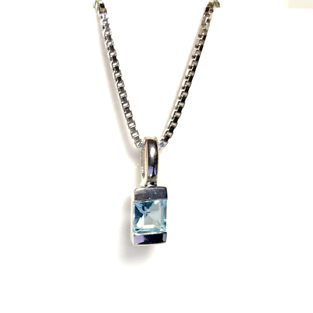 Sterling Silver Petite Blue Topaz Necklace