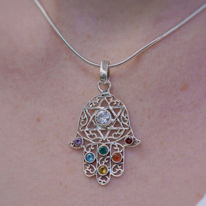 Sterling Silver Hand of Fatima Stone Necklace