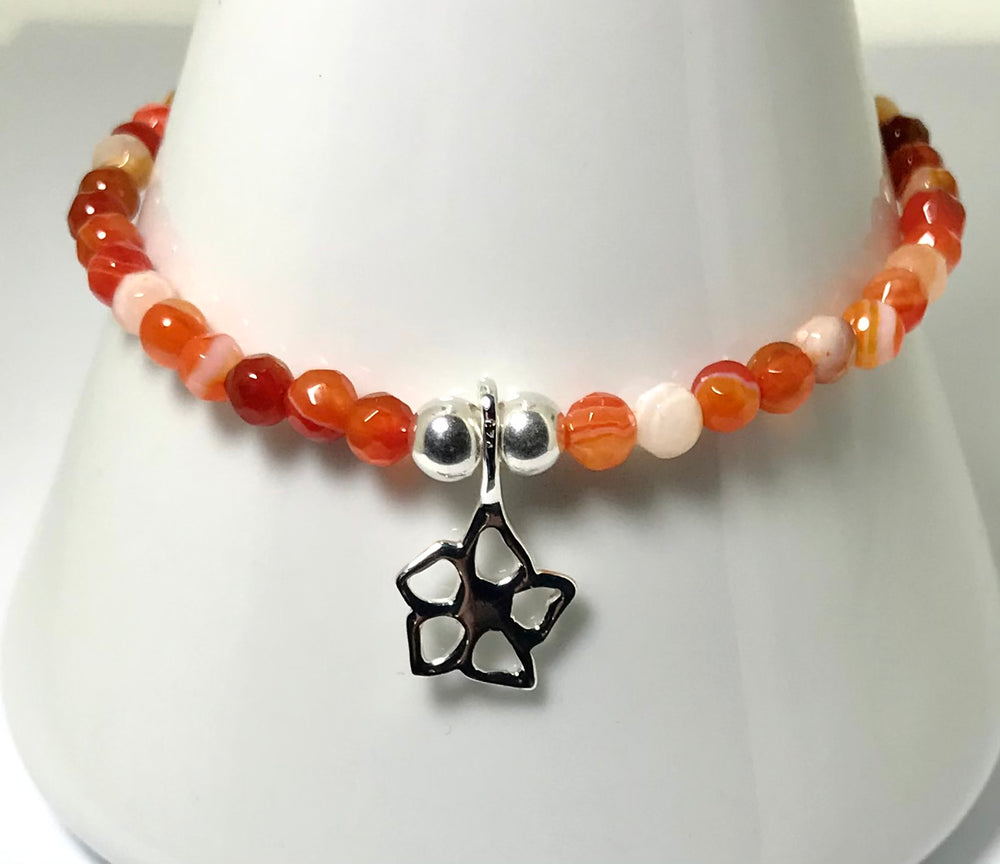 Sterling Silver Orange Agate Stone Stacking Bracelet