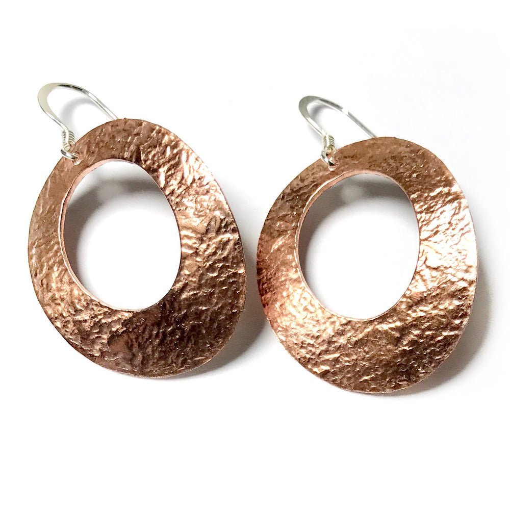 Handmade Copper Texture Earrings